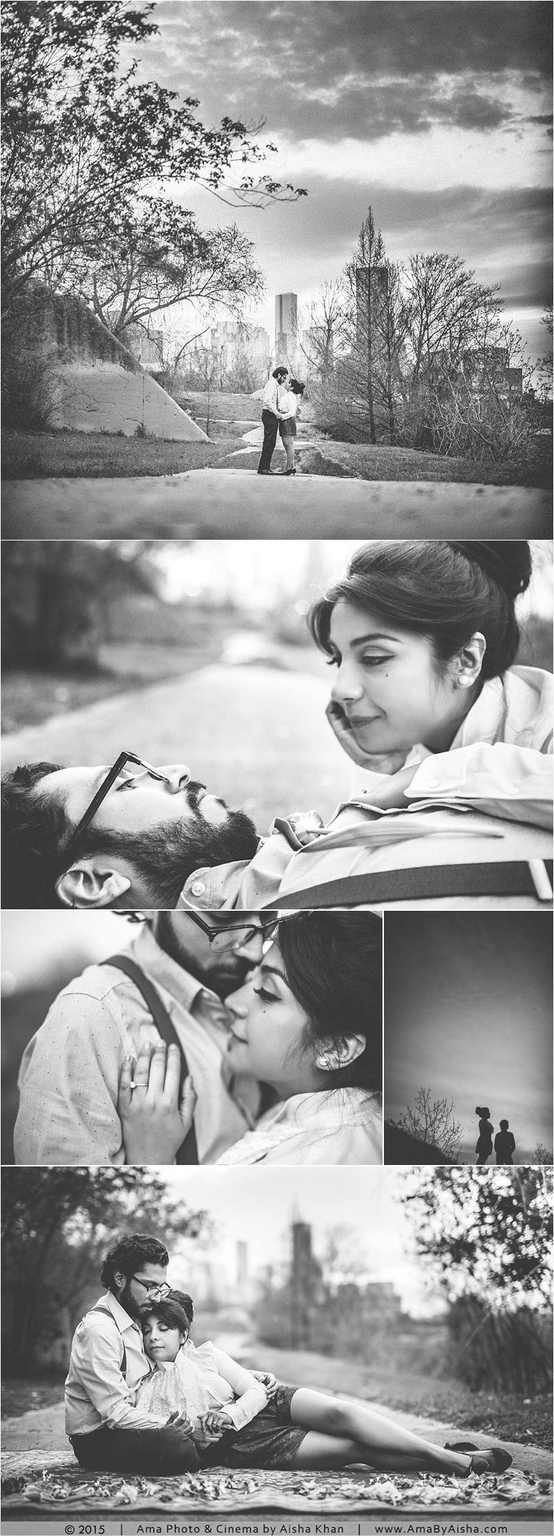 Timeless black and white engagement session from www.AmaByAisha.com