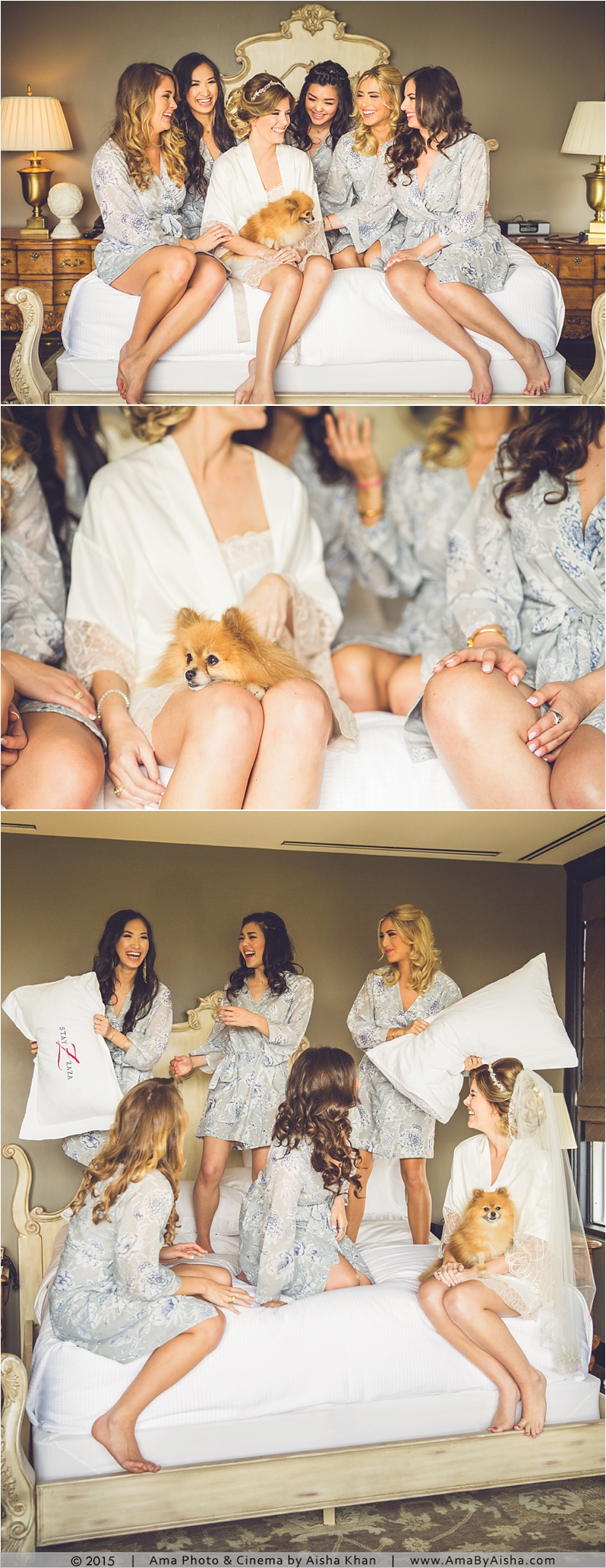 love this bride with bridesmaids and puppy! And a pillow fight!? lol