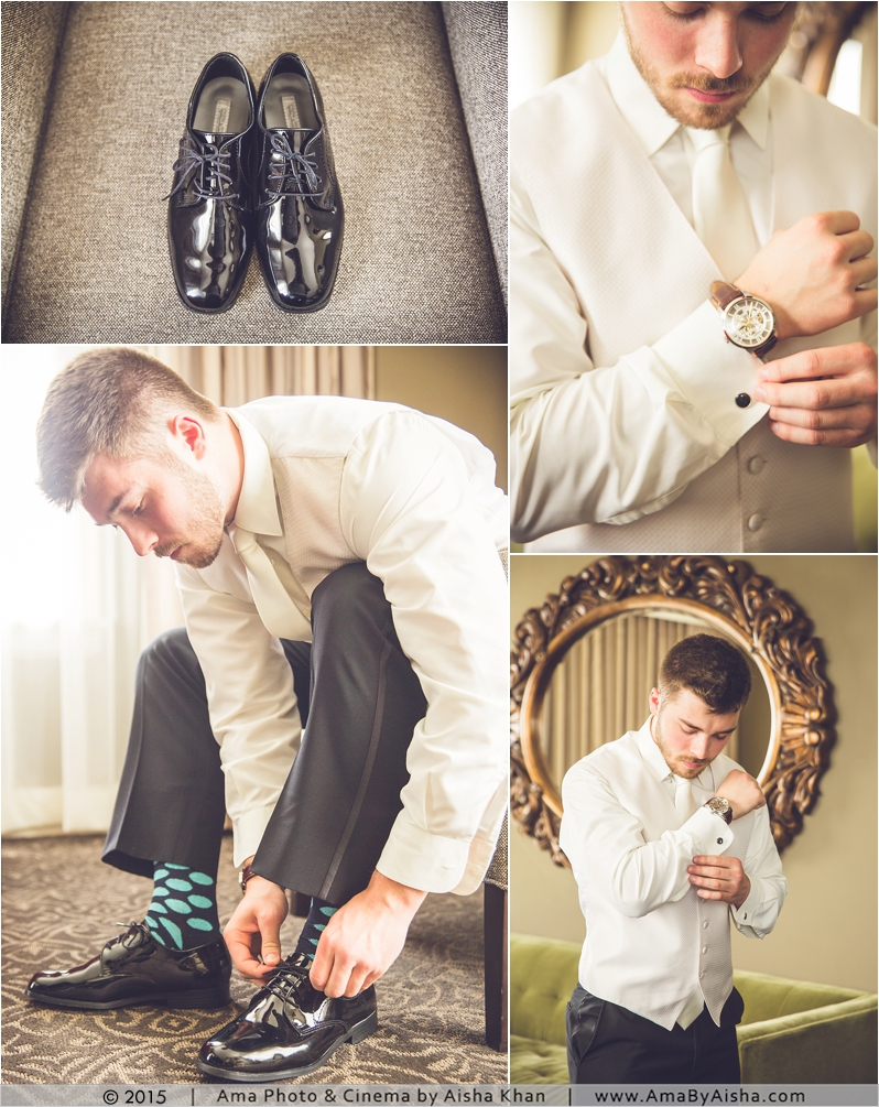 Groom getting ready photography at Hotel Zaza in Houston