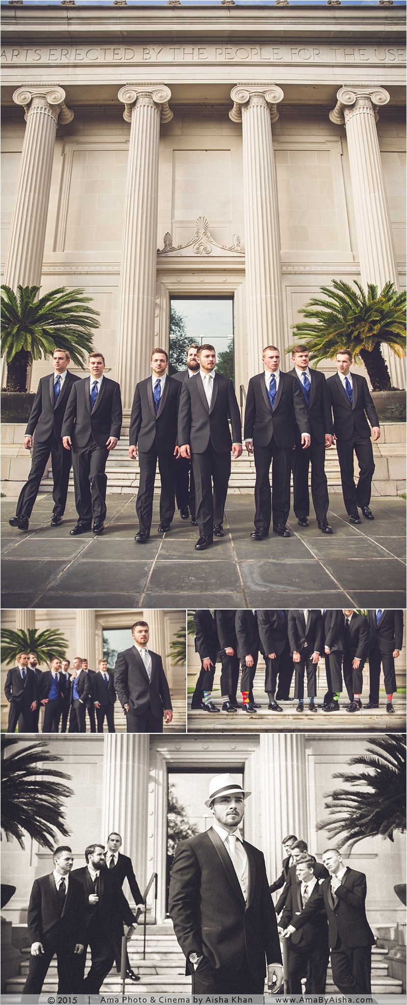 Groomsmen photography at MFAH - Museum of Fine Arts Houston next to Hotel Zaza